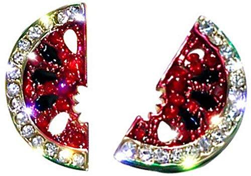 OUHUI Women Studs Earrings Zircon Paved Red Watermelon Enamel Summer Earring Girl Jewelry Gifts 1 Pair C Exquisite/C