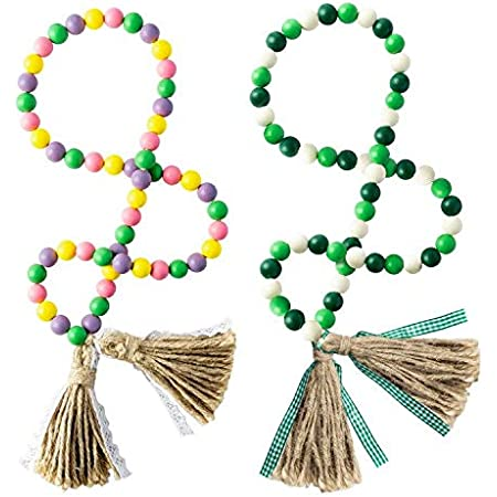 41/'/' Wood Bead Garland Tassel Green/&Red Tassel Garland Farmhouse Rustic Beads with Jute Rope Plaid Tassel Natural Wood Beads D/écor for Christmas New Year R HORSE Christmas Wood Beads