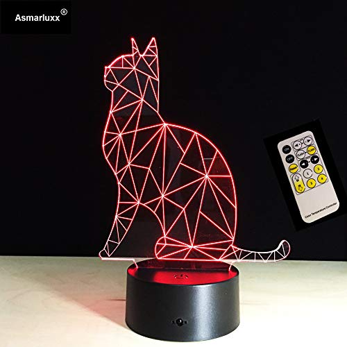 Lovely Cat Animal Sc Toy Night Light 3D LED Table Lamp Kids Birthday Gift Bedside Room Decoration
