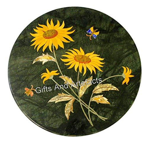 Gifts And Artefacts Mesa de centro de mármol de 30 cm con diseño de flores, se puede utilizar en tu oficina