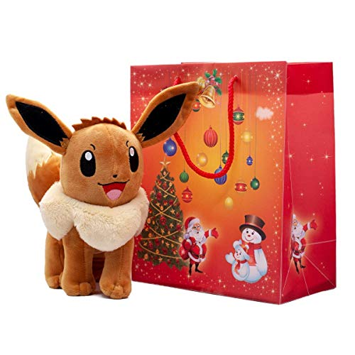 Lively Moments Pokemon Plüschtier Evoli Kuscheltier Eevee mit Weihnachtlichem rotem Geschenkbeutel
