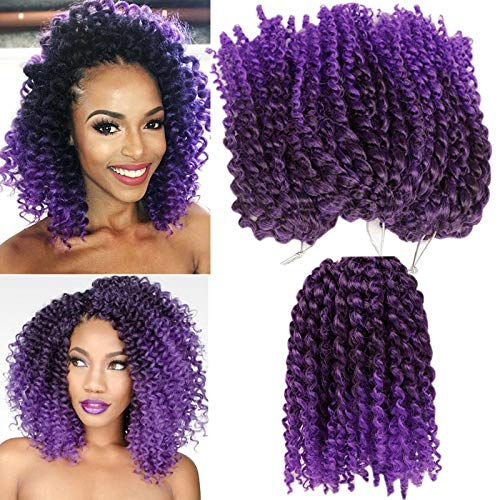 3pcs/pack Kinky Curl 8 Inch Afro Kinky Twist Hair Soft Synthetic Crochet Braiding Hair Extention (Tpurple)