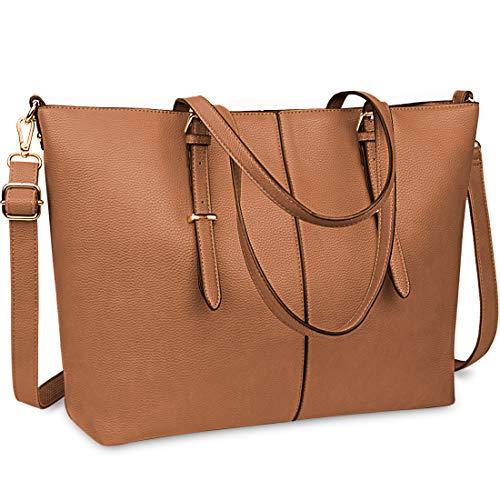 Laptop Tote Bag for Women 15.6 Inch Waterproof Lightweight Leather Computer Laptop Bag Large Business Office Work Bag Briefcase Handbag Brown