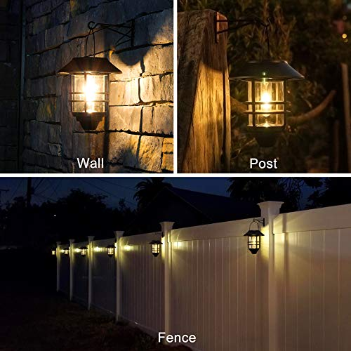 Solar Lantern Outdoor Lights, Hanging Wireless Waterproof Lantern Lights with Wall Mount Kit for Garden Porch Fence 2 Pack