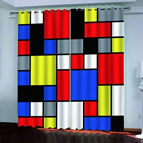 Cortinas Aislantes Térmicas Impresión 3D - con Ojales,Reducir el Ruido y Aislantes Térmicas - Decoración del hogar para salón y Dormitorio - Rompecabezas del Cubo de Rubik 220cmx215cm(WxL)