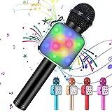 KIDWILL Microfono Karaoke Bluetooth Wireless per Bambini e Adulti 5 in 1 Microfono Karaoke Portatile Radio FM MP3 Mic Speaker Player Recorder con Luci LED per Festa di Compleanno KTV Natale (Nero)