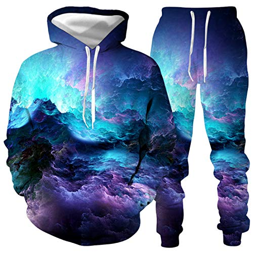 DREAMING-Aurora starry sky impresión digital 3D manga larga Pullover Top traje casual Suéter con capucha + pantalones traje deportivo L