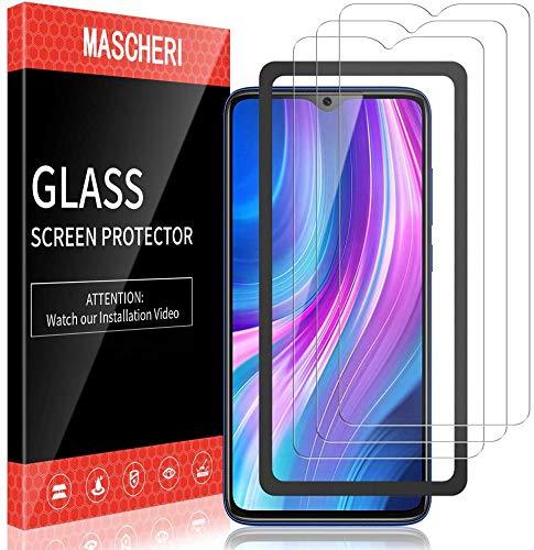 MASCHERI 3 Stück Panzerglas für Xiaomi Redmi Note 8 Pro Schutzfolie Ausgestattet mit einem Einbaurahmen 9H Festigkeit Panzerglasfolie Blasenfrei Bildschirmschutzfolie
