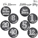 Pregnancy Belly & Matching Baby Milestone Monthly Stickers - Shower Gift Idea Or Scrapbook Photo Keepsake