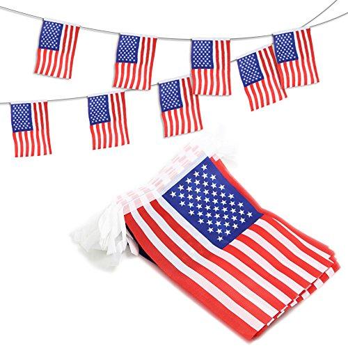 Anley USA Estados Unidos Banderines Banderas con Cordel, Eventos Patrióticos 4 de Julio Día de la Independencia Decoración Sports Bar Deporte - 10 Metros 38 Banderas
