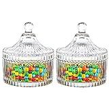 ComSaf Bonboniere mit Deckel Ф10cm 2er-Set, Zuckerdose aus Glas Klein, Lebensmittelechter Glasbehälter für Snacks
