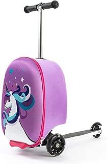"""Kiddie Totes 19"""" Hardshell Carry-on Scooter Suitcase - Light Up LED Wheels - Unicorn"""