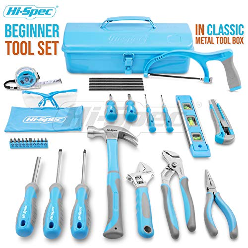 Hi-Spec 33 Piece Beginner Tool Set with Tool Box. Home Repair Starter DIY Tool Kit with Practical Hacksaw, Screwdrivers, Hammer, Pliers, Wrench, Dust Glasses & More