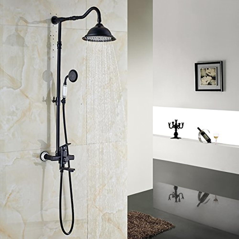 Luxurious shower l eingerieben Bronze 8  Niederschlag Badewanne Dusche einzigen Griff drehen In der Wand Dusche Wasserhahn Tippen mit Handdusche