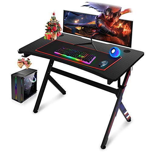 Gaming Desk, 45 INCH R Shaped Home Office PC Computer Table, Desk for Gaming with Free Mouse pad,Cup Holder and Headphone Hook(Black)