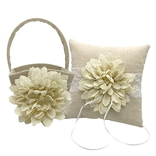 Kstyhome Canasta de Flores + Almohada para el Portador del Anillo de Bodas Flor Grande Encaje Decoración de Perlas para Bodas Románticas