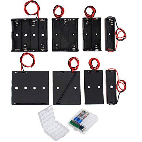 GTIWUNG 8Pcs AA Batteriehalter Gehäuse Kunststoff Akku Aufbewahrungsbox, Batteriehalter für AA Batterie Halterung 1.5V/3V/4.5V/6V mit Anschlusskabel, 2Pcs Batterie Boxen Aufbewahrungsbox