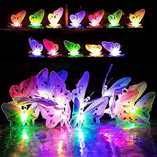 Runaup Solarenergie Schmetterling Lichterketten, 12ft RGB LED Schmetterlingslichter Wasserdicht im Freien String Light für den Garten Balkon Weihnachten Hochzeit Urlaub Party