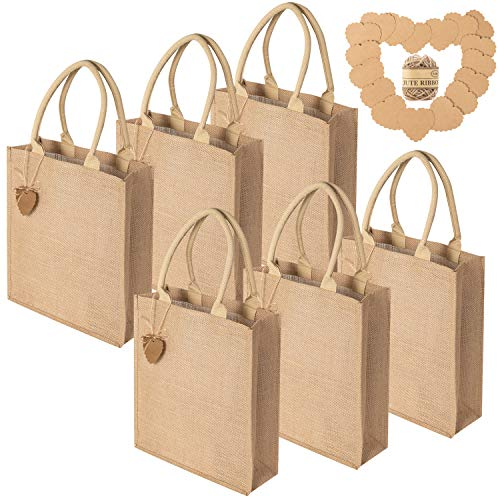 Burlap Tote Bags 6 Pack Reusable Canvas Grocery Bag Blank Shopping Bag Jute Gift Bags with Cotton Handle and Gift Card for Decorating Art Craft Bible Bookbag Events Schools Beach, 12 x 14 Inch