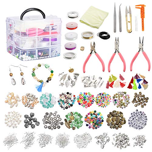 Roblue Jewelry Making Supplies, 1526PCS Jewelry Making Kit Jewelry Beads and Charms Findings Beading Wire for Necklace Bracelets Earrings Making Kit for Adults Valentine's Day Gifts