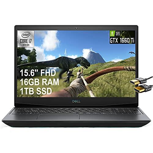 2021 Flagship Dell G5 15 Gaming Laptop 15.6' FHD Display 10th Gen Intel 6-Core i7-10750H 16GB RAM 1TB SSD GeFore GTX 1660Ti 6GB Thunderbolt Backlit USB-C Win10 Black + iCarp HDMI Cable