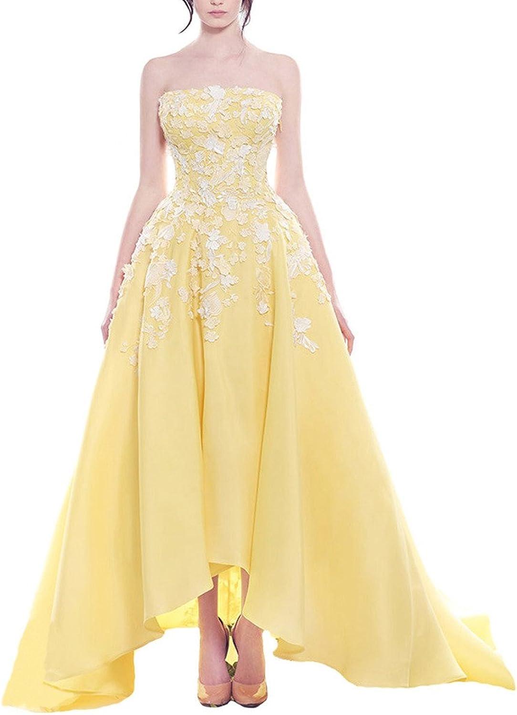 Dearta Women's ALine Strapless Sweep Train Zipper Prom Quinceanera Dresses Gown