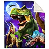 """Bonsai Tree Dinosaur Blanket, Cool Anicent Animals Fuzzy Soft Cozy Warm Sherpa Throw Blanket for Boys Children, Thick T-Rex Cartoon Crystal Velvet Blanket for Couch Bed Living Room, 50""""x60"""""""