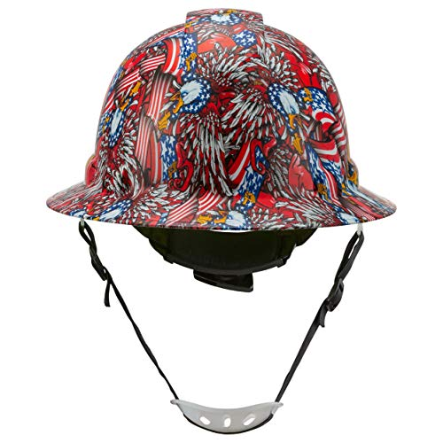 Full Brim Hard Hat Construction OSHA Approved Hardhats, Men Women Safety Helmet, 4 Point, Chin Strap, Custom Patriotic Design, by Acerpal, Wings of Freedom