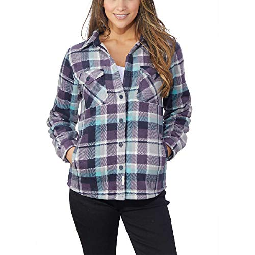Women's Plaid Fleece Jackets Super Plush Sherpa Lined Jacket Shirt (XX-Large, Purple)