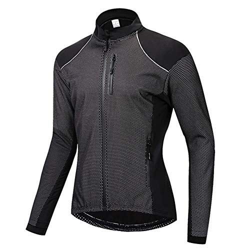 SxLingerie Cycling Jacket Reflective Coat Fleece Thermal Softshell Windproof Long Sleeve Bike Jacket for Cycling Training Bicycling,Black,XL