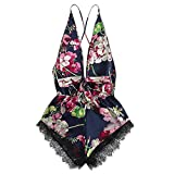 URIBAKY Women's Sexy Lingerie, Lace Satin Floral Bow Backles