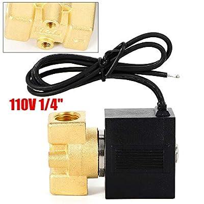 "1/4"" 110-120V AC Brass Solenoid Valve Gas Water Air N/C Electric Solenoid Valve NPT Gas Water Air Normally Closed from BOYU-SHITAI"