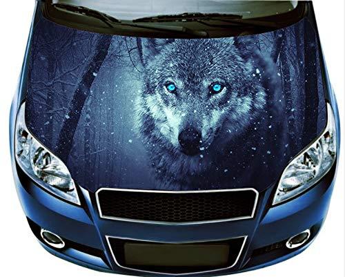 Nat999Lily Wolf Car Hood Decal Car Vinyl Sticker Wolf Sticker Car Accessories Car Bumper Sticker Car Wrap Car Graphics Design Lk11446-14X53 Inches