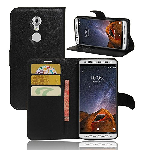 ECENCE Handy-Schutzhülle - Handytasche für ZTE Axon 7 Mini Schwarz - Smarthone Hülle Cover stoßfest mit Kartenfach - Handycase mit Stand-Funktion 13010309