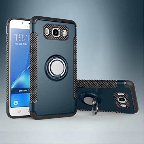 Armor - Carcasa de doble capa 2 en 1, resistente a prueba de golpes, con anillo giratorio de 360 grados y soporte magnético para coche, compatible con Samsung Galaxy J5 2016 J510 (color azul marino)