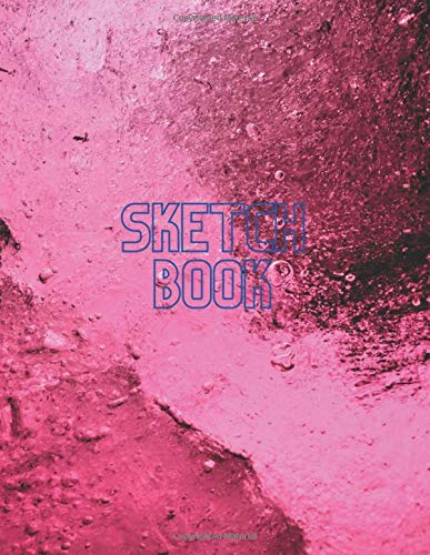 Sketch book notebook for drawing writing, Fuchsia frozen abstract background cover, 100 pages