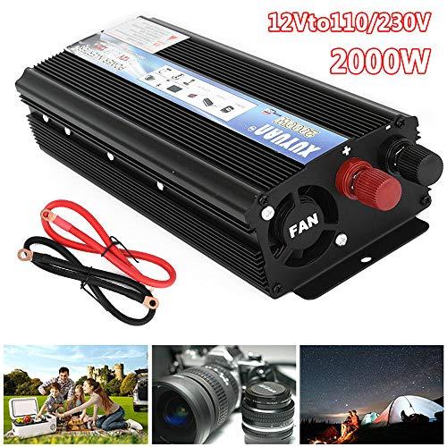 ZHHID Stromumwandler 12V auf 230V, 2000W Wechselrichter 1 USB Ladeanschlüsse 1 Steckdosen mit Zigarettenanzünder-Anschlusskabel und Batterieklemmen,12Vto230V