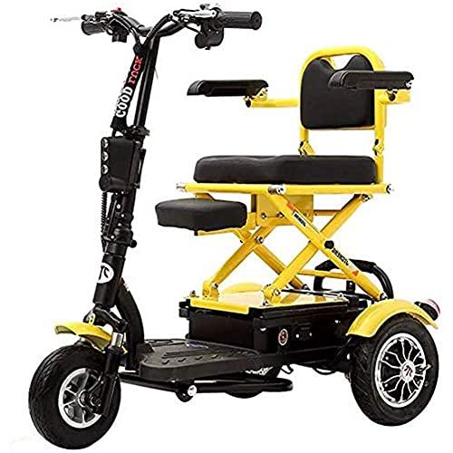 WXDP Autopropulsado Scooter eléctrico convenientemente, Triciclo eléctrico Plegable eléctrico para el hogar, Motor sin escobillas, Disco hidráulico Doble con luz