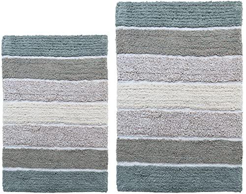 Chardin Home Cordural Stripes Bath Mat, Set of 2 Bath Rugs (21 Inches x34 Inches & 24 Inches x40 Inches)   Non Slip Bathroom Rug, Machine Washable, Plush, Highly Absorbent   Bluish Gray- Beige
