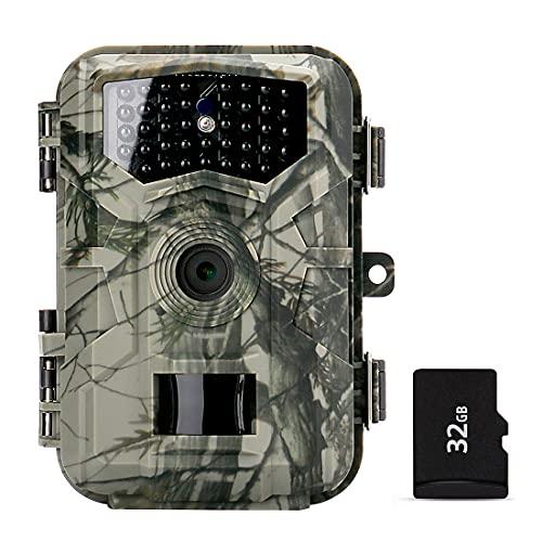 Iriisy Fototrappola Victure Fotocamera Caccia 32MP 1080P HD Impermeabile IP66 Fototrappola Infrarossi Invisibili con 0.7s Velocità di Innesco Fino a 85ft 22m con Scheda da 32GB