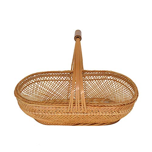 YHNHT Cesta de mimbre decorativa de almacenamiento, cesta de mimbre con asas para regalo, cestas de frutas tejidas a mano, cesta de Pascua para guardar pan, frutas, dulces de Pascua