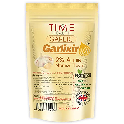 New: Garlic Extract - High Strength 12mg Alliin per Capsule - Premium Brand Garlixir - Neutral Tasting - Lipid Extract - 60 Capsules (60 Capsule Pouch)