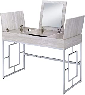 ACME Furniture Saffron desk, Natural & Chrome