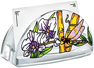 Amia Hand Painted Acrylic Business Card Holder Featuring a Dragonfly Design, 4-Inch