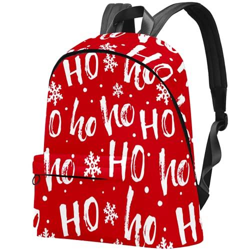 LAZEN Mochila clásica escolar Mochila de viaje ligera Mochila para portátil para mujeres Hombres Rojo Navidad Hohoho Santa Copo de nieve