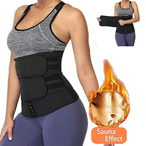 Baywell Waist Trainer Belt Abdominal Trimmer Sports Slimming Body Shaper Band with Dual Adjustable Belly for Fitness Workout Unisex