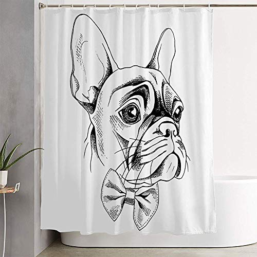 Aiiwdito Bath Curtain for Bathroom French Isolated in Bulldog Bow Collar Profile Tie Animals Wildlife Beauty Sketch Fashion Frenchie Shower Curtain Waterproof Polyester Fabric 72' x 72' with Hooks