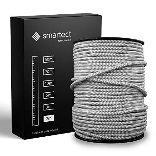 smartect Textilkabel Grau Weiß - 2 Meter Vintage Lampenkabel aus Textil - 3-Adrig (3 x 0.75 mm²) - Stoffummanteltes Stromkabel für DIY Projekt