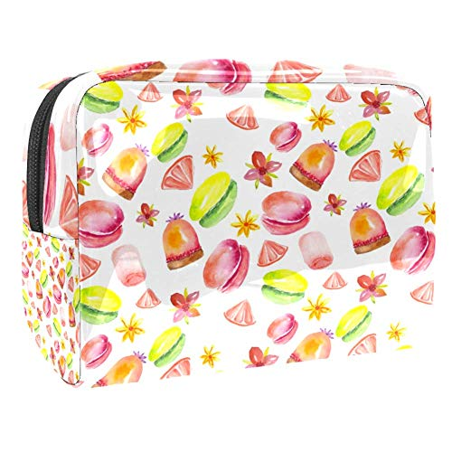 TIZORAX - Sac de maquillage en PVC pour bonbons, gâteaux, macarons, donuts, cosmétiques, trousse de toilette de voyage, organiseur pratique pour femme
