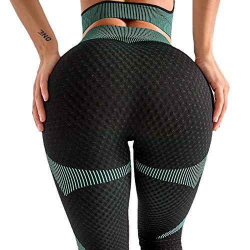 BLACK ELL Leggings para Running Training,Pantalones Deportivos de Cintura Alta Que levantan la Cadera, Pantalones Deportivos absorbentes de Sudor de Secado rápido-Blue_M